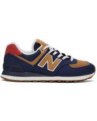 New Balance ネイビー & ブラウン 574 デニム スニーカー - ブルー