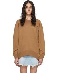 Givenchy - ブラウン ウール オーバーサイズ ボタン クルーネック - Lyst