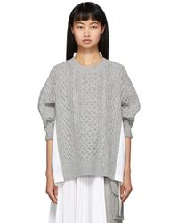 Sacai Gray And White Knit Wool Sweater