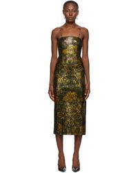 Versace Jeans Couture ブラック & ゴールド Glitter ミディ ドレス - マルチカラー