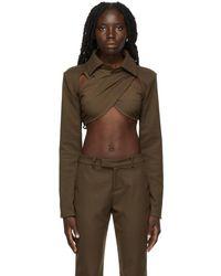 Danielle Guizio Wrap Blazer Top - Brown