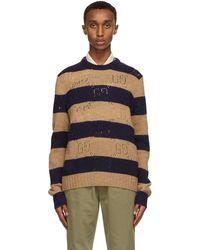 Gucci - ベージュ & ネイビー ウール ストライプ GG セーター - Lyst