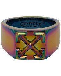 Off-White c/o Virgil Abloh Multicolour Anodized Arrows Ring - Blue