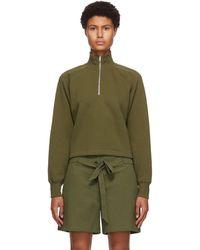Rag & Bone Khaki Fleece Cut-off Half-zip Jumper - Green