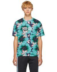 KENZO ブルー インドネシア フラワー ストレート T シャツ