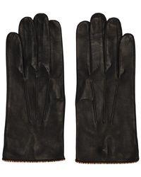 Paul Smith Gants en cuir a passepoil raye emblematique noirs