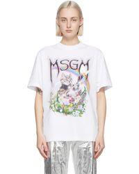 MSGM White Cat Logo T-shirt