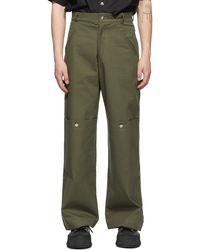 Spencer Badu Khaki Chino Cargo Trousers - Green