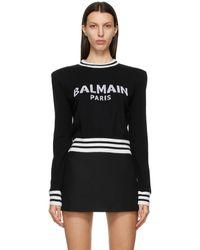 Balmain - ブラック クロップド ロゴ セーター - Lyst