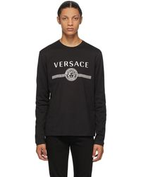 Versace ブラック Medusa ロゴ ロング スリーブ T シャツ
