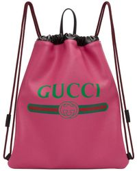 Gucci - Sac a dos a cordons coulissants rose Vintage Logo - Lyst