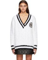 Balmain ホワイト アンゴラ V ネック セーター