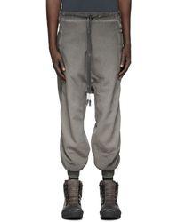 Boris Bidjan Saberi Pantalon de survêtement délavé gris