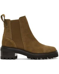 See By Chloé Taupe Suede Mallory Ankle Boots - Brown