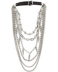 Junya Watanabe Silver Buckle Multi Chain Spike Necklace - Metallic