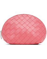 Bottega Veneta Trousse pour maquillage rose Intrecciato Small