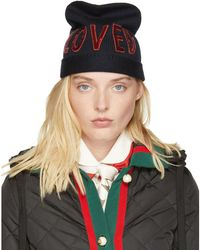 Gucci - Navy Wool 'loved' Beanie - Lyst