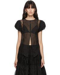 Renli Su Black Silk Ruffle Sleeve Shirt
