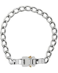 1017 ALYX 9SM Ssense Exclusive Silver Chain And Leather Buckle Necklace - Metallic