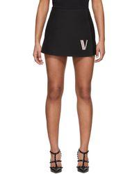 Valentino ブラック シープスキン ロゴ ショーツ