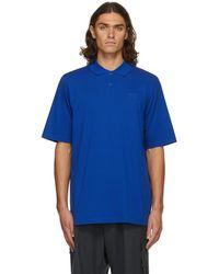 Y-3 ブルー ロゴ ポロシャツ