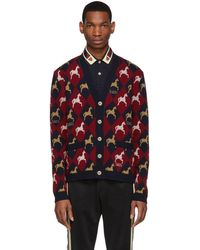 3039672f Red And Navy Jacquard Equestrian Cardigan