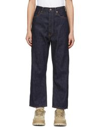 Chimala - Navy Wide Tapered Selvedge Jeans - Lyst