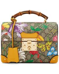 Gucci Padlock Floral Bamboo Handle Canvas & Leather Shoulder Bag - Multicolor