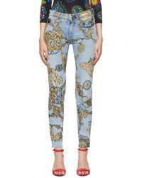 Versace Jeans Couture - ブルー & ゴールド Regalia Baroque Print スリムフィット ジーンズ - Lyst