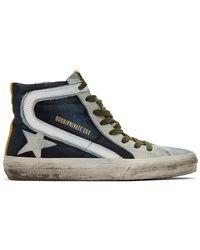 Golden Goose Deluxe Brand Blue And Grey Denim Slide Trainers