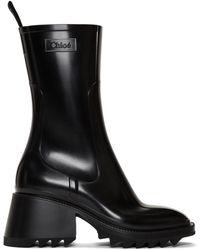 Chloé Women's Betty Block - Heel Platform Rain Boots - Black