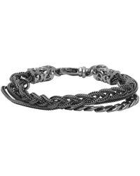 Emanuele Bicocchi - Black Rhodium Chain & Braided Bracelet - Lyst