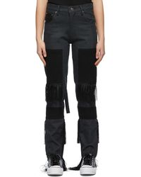 Youths in Balaclava Grey & Black Fringed High Waisted Jeans