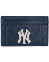 Gucci Ny Yankees Edition ネイビー GG カード ホルダー - ブルー