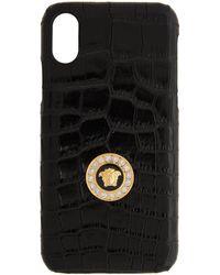 Versace ブラック メドゥーサ クロコ Iphone X Css ケース