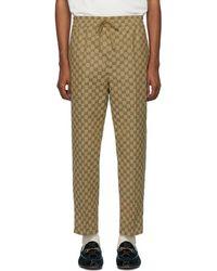 Gucci - Pantalon en toile brun GG Jogging - Lyst