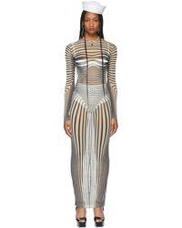 Jean Paul Gaultier Robe Body Stripe beige exclusive à SSENSE - Neutre