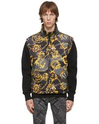 Versace Jeans Couture リバーシブル ブラック Shields & Chains ダウン ベスト