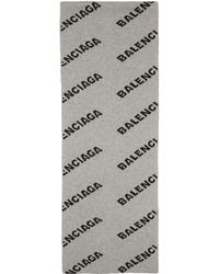 Balenciaga Grey And Black Allover Logo Scarf - Gray