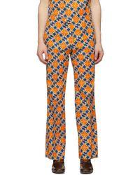 Gucci - オレンジ And ブルー GG Quatrefoil トラウザーズ - Lyst