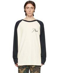 Rhude T-shirt à manches longues raglan et logo blanc cassé et noir
