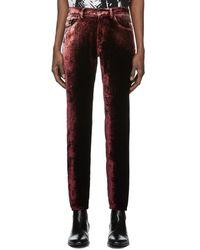 Saint Laurent Burgundy Velvet Trousers - Multicolour