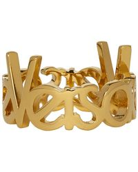 Versace Gold Logo Ring - Metallic