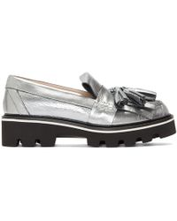 MSGM - Silver Metallic Fringe Loafers - Lyst