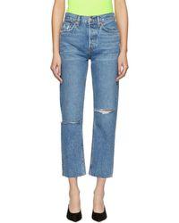 RE/DONE Ssense Exclusive Blue Originals Stove Pipe Rip Jeans