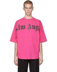Palm Angels ピンク フロント ロゴ オーバー T シャツ
