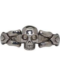 Alexander McQueen - Silver Textured Skull Ring - Lyst