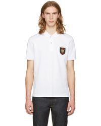 Gucci | White Embroidered Tiger Crest Polo | Lyst