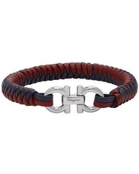 Ferragamo Red And Blue Braided Leather Bracelet