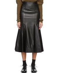 Loewe ブラック ラムスキン ゴデット スカート